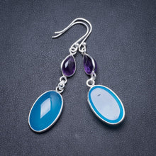 "Natural Chalcedony and Amethyst Handmade Unique 925 Sterling Silver Earrings 2.25"" Y2467"