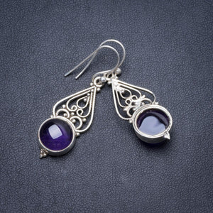 "Natural Amethyst Handmade Unique 925 Sterling Silver Earrings 1.5"" Y2544"