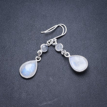 "Natural Rainbow Moonstone Handmade Unique 925 Sterling Silver Earrings 1.75"" Y2618"