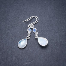 "Natural Rainbow Moonstone Handmade Unique 925 Sterling Silver Earrings 1.75"" Y2747"