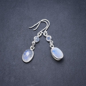 "Natural Moonstone Handmade Unique 925 Sterling Silver Earrings 1.75"" Y2785"