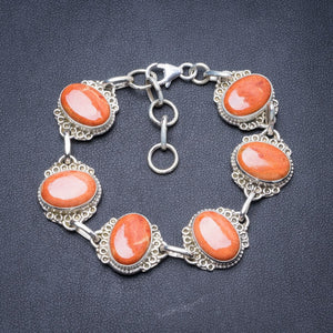 "Natural Coral Handmade Unique 925 Sterling Silver Bracelet 7 1/4-8 1/4"" Y2838"