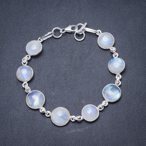 "Natural Rainbow Moonstone Handmade Unique 925 Sterling Silver Bracelet 6 3/4-7 1/4"" Y2884"