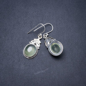 "Natural Prehnite Handmade Unique 925 Sterling Silver Earrings 1.5"" Y2931"