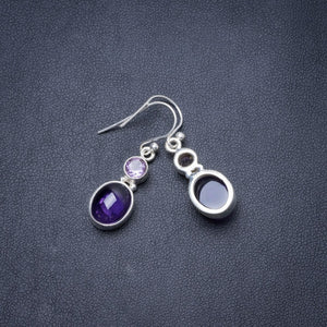 "Natural Amethyst Handmade Unique 925 Sterling Silver Earrings 1.25"" Y2936"