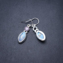 "Natural Rainbow Moonstone and Amethyst Handmade Unique 925 Sterling Silver Earrings 1.25"" Y2944"