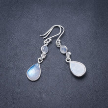 "Natural Rainbow Moonstone Handmade Unique 925 Sterling Silver Earrings 1.5"" Y2954"