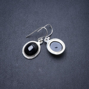 "Natural Black Onyx Handmade Unique 925 Sterling Silver Earrings 1"" Y3010"