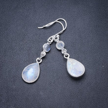 "Natural Rainbow Moonstone Handmade Unique 925 Sterling Silver Earrings 1.75"" Y3032"