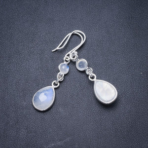 "Natural Rainbow Moonstone Handmade Unique 925 Sterling Silver Earrings 1.75"" Y3040"