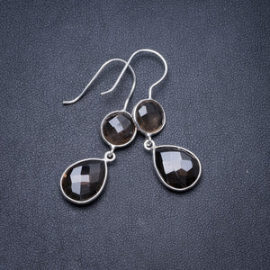 "Natural Smoky Quartz Handmade Unique 925 Sterling Silver Earrings 1.75"" Y3042"