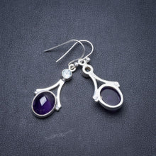 "Natural Amethyst and Blue Topaz Handmade Unique 925 Sterling Silver Earrings 1.5"" Y3050"
