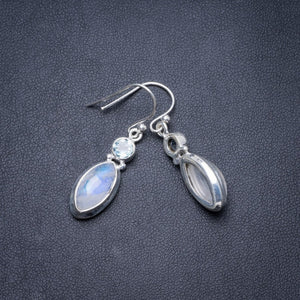 "Natural Rainbow Moonstone and Blue Topaz Handmade Unique 925 Sterling Silver Earrings 1.5"" Y3061"