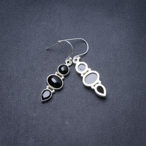 "Natural Black Onyx Handmade Unique 925 Sterling Silver Earrings 1.5"" Y3121"