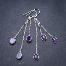 "Natural Amethyst Handmade Unique 925 Sterling Silver Earrings 2.75"" Y3138"