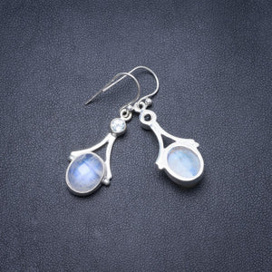 "Natural Rainbow Moonstone and Blue Topaz Handmade Unique 925 Sterling Silver Earrings 1.5"" Y3140"