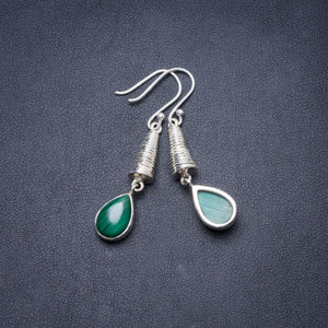 "Natural Malachite Handmade Unique 925 Sterling Silver Earrings 2"" Y3181"