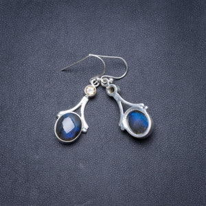 "Natural Blue Fire Labradorite and Citrine Handmade Unique 925 Sterling Silver Earrings 1.5"" Y3206"