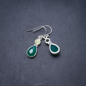 "Natural Chrysoprase and Peridot Handmade Unique 925 Sterling Silver Earrings 1.25"" Y3236"