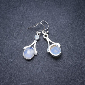 "Natural Rainbow Moonstone and Blue Topaz Handmade Unique 925 Sterling Silver Earrings 1.25"" Y3288"