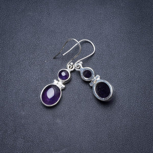 "Natural Amethyst Handmade Unique 925 Sterling Silver Earrings 1.5"" Y3335"