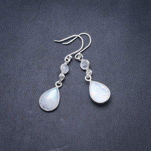 "Natural Rainbow Moonstone Handmade Unique 925 Sterling Silver Earrings 1.75"" Y3356"