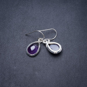 "Natural Amethyst Handmade Unique 925 Sterling Silver Earrings 1"" Y3385"