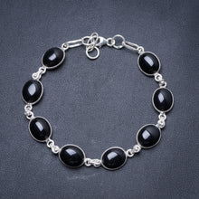 "Natural Black Onyx Handmade Unique 925 Sterling Silver Bracelet 7 1/4-7 3/4"" Y3411"