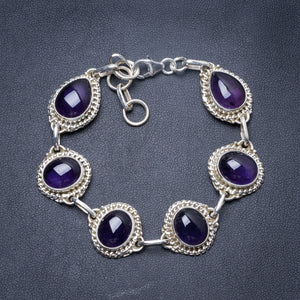 "Natural Amethyst Handmade Unique 925 Sterling Silver Bracelet 7 1/4-8 1/4"" Y3441"