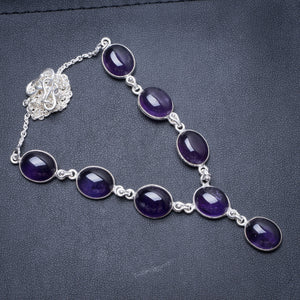 "Natural Amethyst Handmade Unique 925 Sterling Silver Necklace 18.5"" Y3471"