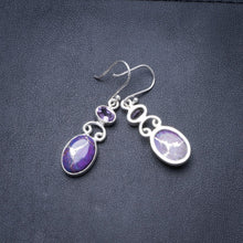 "Natural Variscite and Amethyst Handmade Unique 925 Sterling Silver Earrings 1.75"" Y3572"