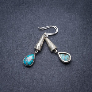 "Natural Copper Turquoise  Handmade Unique 925 Sterling Silver Earrings 2"" Y3591"