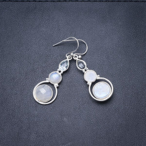 "Natural Rainbow Moonstone Handmade Unique 925 Sterling Silver Earrings 1.75"" Y3660"