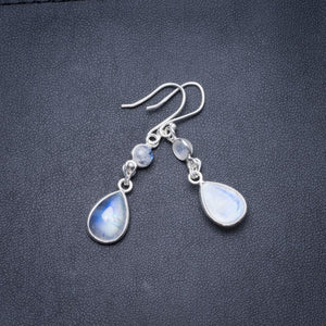 "Natural Rainbow Moonstone Handmade Unique 925 Sterling Silver Earrings 1.75"" Y3665"