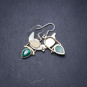 "Natural Two Tones Malachite Handmade Unique 925 Sterling Silver Earrings 1.25"" Y3690"