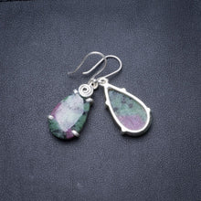 "Natural Ruby Zoisite Handmade Unique 925 Sterling Silver Earrings 1.5"" Y3694"