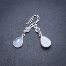 "Natural Rainbow Moonstone Handmade Unique 925 Sterling Silver Earrings 2"" Y3731"