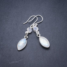"Natural Rainbow Moonstone Handmade Unique 925 Sterling Silver Earrings 1.75"" Y3744"