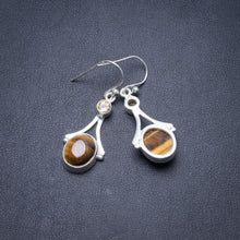"Natural Tiger Eye and Citrine Handmade Unique 925 Sterling Silver Earrings 1.5"" Y3806"