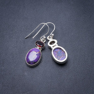 "Natural Copper Turquoise and Amethyst Handmade Unique 925 Sterling Silver Earrings 1.5"" Y3845"