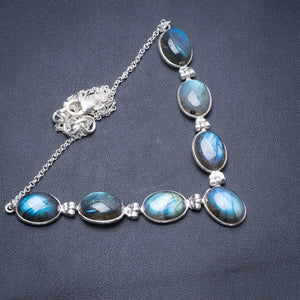 "Natural Labradorite Handmade Unique 925 Sterling Silver Necklace 16.75"" Y3894"