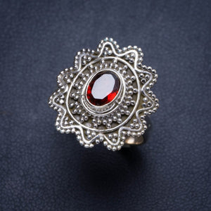 Natural Garnet Handmade Unique 925 Sterling Silver Ring 8.75 Y4004