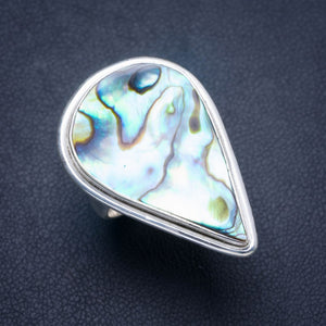 Natural Abalone Shell Handmade Unique 925 Sterling Silver Ring 6.25 Y4179