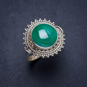 Natural Malachite Handmade Unique 925 Sterling Silver Ring 7.75 Y4183