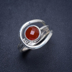 Natural Carnelian Handmade Unique 925 Sterling Silver Ring 7.75 Y4187