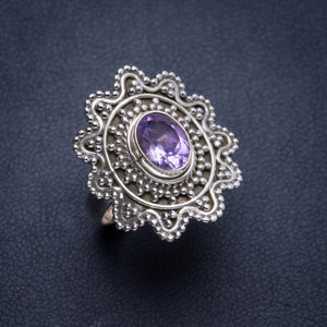 Natural Amethyst Handmade Unique 925 Sterling Silver Ring 6.75 Y4378