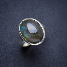 Natural Blue Fire Labradorite Handmade Unique 925 Sterling Silver Ring 6 Y4452