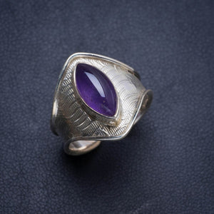 Natural Amethyst Handmade Unique 925 Sterling Silver Ring 8 Y4462