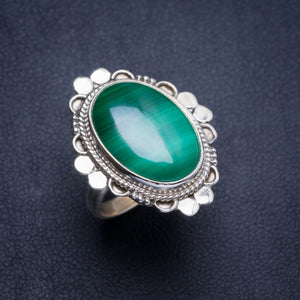 Natural Malachite Handmade Unique 925 Sterling Silver Ring 5.75 Y4495