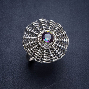 Natural Mystical Topaz Handmade Unique 925 Sterling Silver Ring 8.75 Y4496